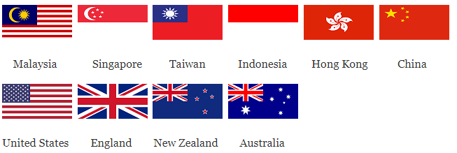Flag of the countries Malaysia, Singapore, Taiwan, Indonesia, Hong Kong, China. United States, England, New Zealand and Australia